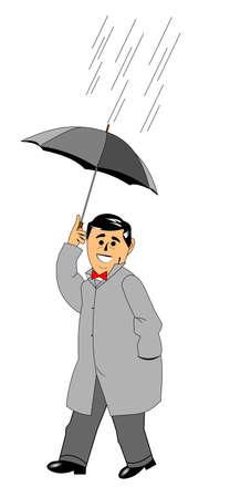 man lopen in de regen met paraplu Stock Illustratie