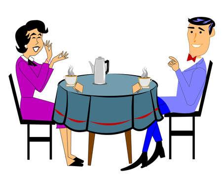 hem: couple having coffee and laughing Illustration