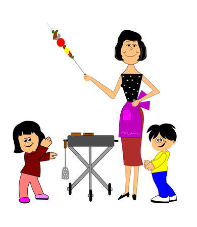 kabob: mother barbequeing with children