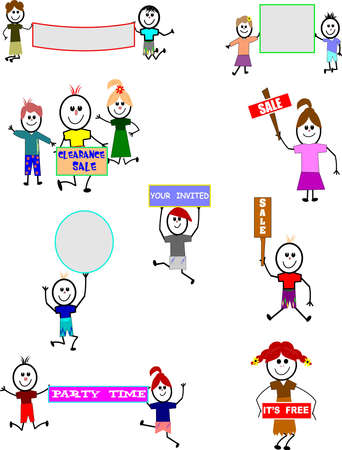 child holding sign: stick kids with various signs set  Illustration