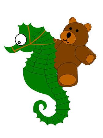 reins: teddy bear riding a seahorse  Illustration