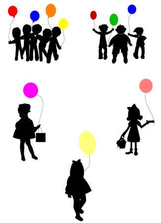 balloon girl: birthday party silhouettes set
