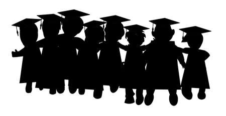 children in class: GRADUATION CLASS OF FRIENDS IN SILHOUETTE Illustration