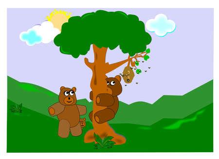 bear family hunting for honey