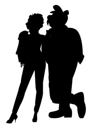 lass: fifties couple in silhouette