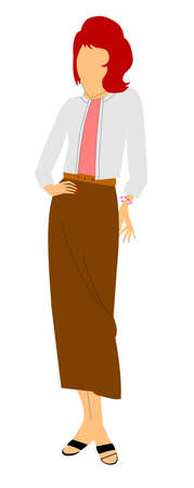 redheaded: REDHEADED LADY IN FIFTIES CASUAL DRESS Illustration