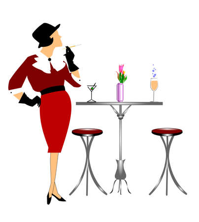 women smoking: classy lady waitng at table with drinks