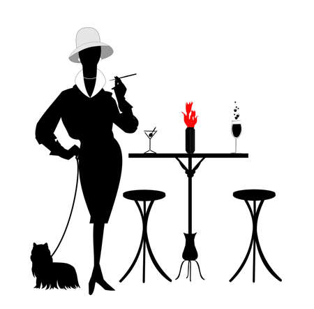 stools: fashionista with her puppy Illustration