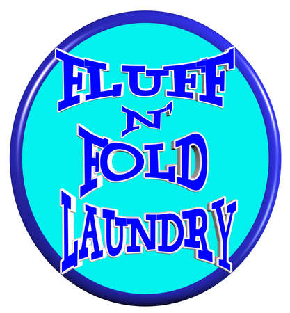 fluff and fold laundry sign in 3d  向量圖像