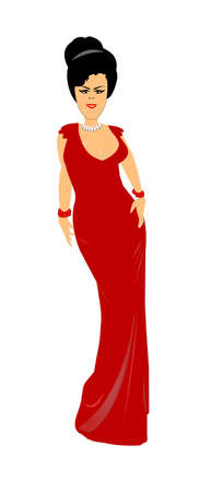 sleek: woman in low cut evening gown