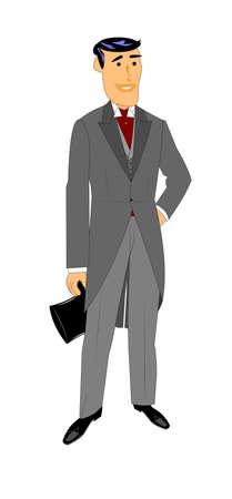 retro man in smoking en staarten met hoge hoed