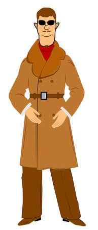 overcoat: retro man in fur trim overcoat Illustration