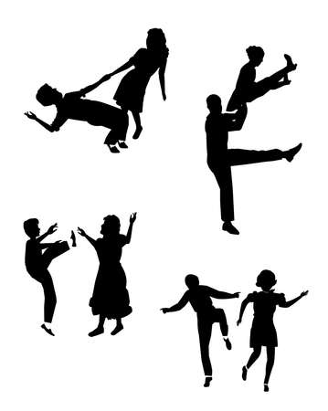 40s: swing dancers in silhouette