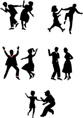 rock and roll dancers Vector