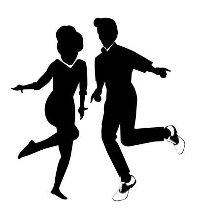 dancers in silhouette Vector
