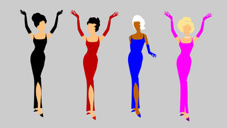 outstretched: fashion divas in evening gowns Illustration