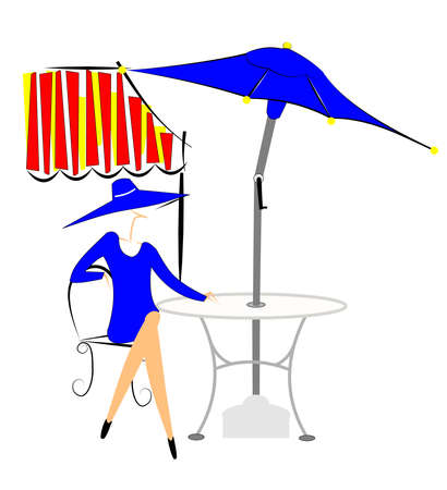 outdoor cafe: outdoor cafe Illustration