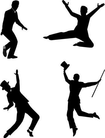 tap dancers in silhouette Vettoriali