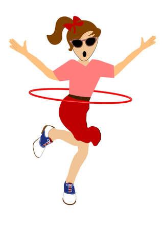 60's: girl with hula hoop