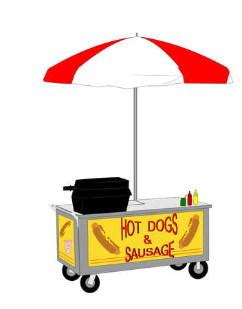 street vendor: hot dog vendor cart