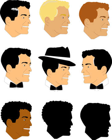 debonair: male faces from fifties set Illustration