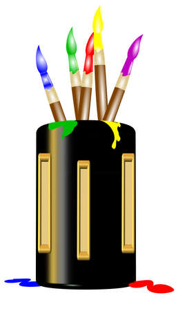 creative arts: paintbrushes in holder in 3d