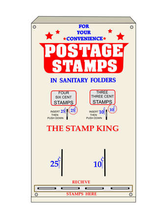 25 cents: retro stamp machine