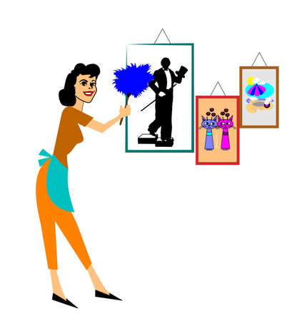 feather duster: woman dusting with feather duster Illustration