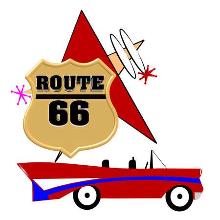 60's: route 66 road trip concept