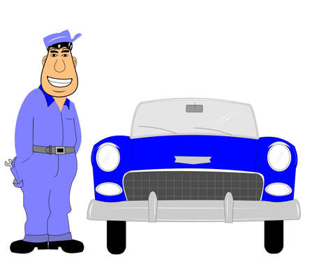 60's: mechanic with a car Illustration