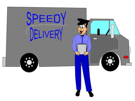 deliveryman: speedy delivery truck with driver