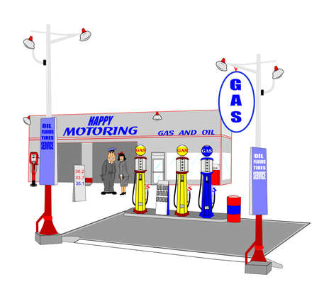 retro gas station with mechanic and lady customer Vector