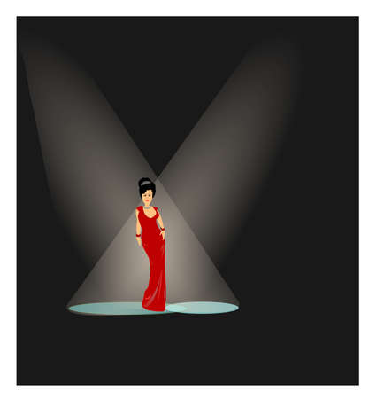 on stage under the lights  Illustration