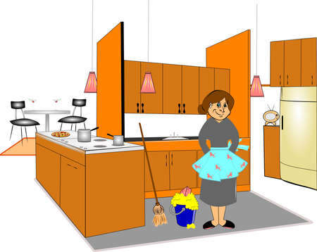 cleaning the kitchen  Vector