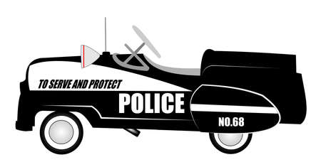pretend: pedal car in police car style from sixties