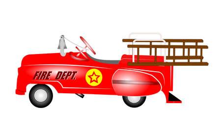 pull toy: departamento del fuego pedal de camiones para los niños de los años sesenta Vectores