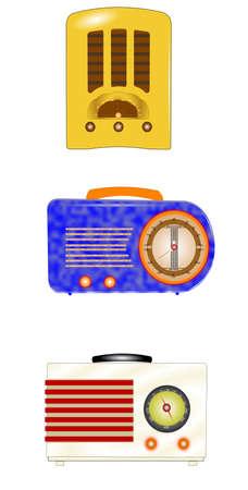 bakelite: vintage radios from thirties set Illustration