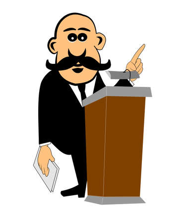 lectern: ceo male giving speech at lectern to employees