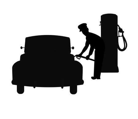 gas jockey filling cars gas tank