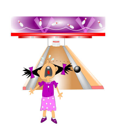 ten pin bowling: gutter ball concept  Illustration