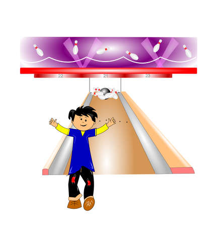 young boy bowling a strike concept Ilustrace