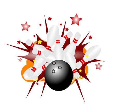 Palla da bowling striiking perni e provocando un'esplosione Archivio Fotografico - 20893271