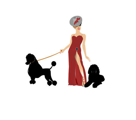diva facing right with her poodles on leash  Illustration