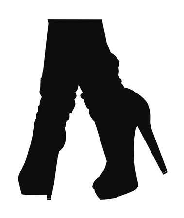 jeans and heels in silhouette  Illustration