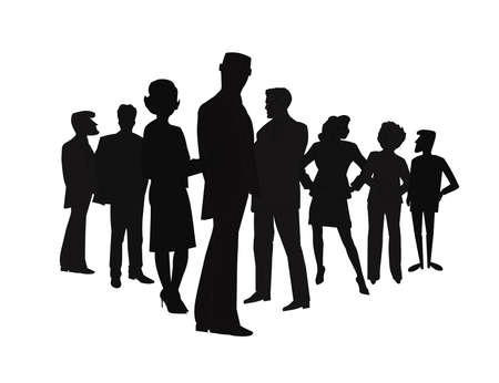 business team in silhouette