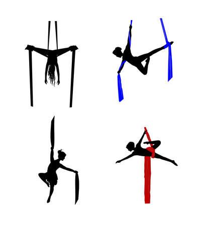 the acrobatics: bailarines a�reos seda Vectores