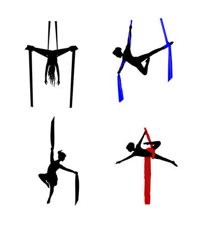 Danseurs aériens soie Banque d'images - 21220730