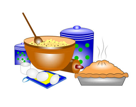 pastel de manzana: cocer en el campo con el pastel de manzana y chocolate chip de masa de galletas en un taz�n Vectores
