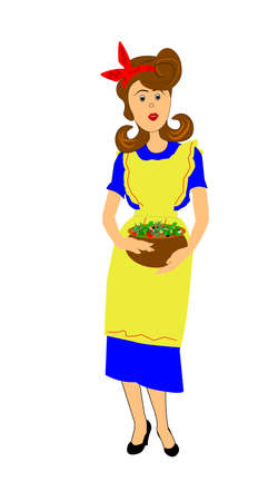 secluded: fifties mom holding a large bowl of salad for dinner Illustration