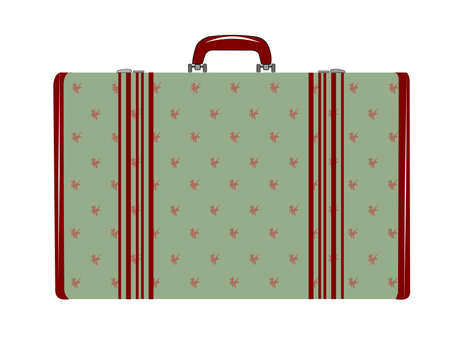 womans retro luggage in pale green color and burgundy highlights